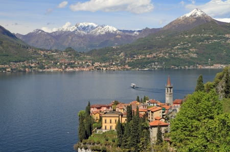 fantastic landscape of Lake Come with Varenna village in the foreground, Lombardy, north Italy, Europe Stock Photo - 15118360