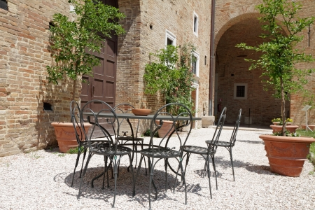 toscana: garden furniture on italian backyard, Urbino, Marche, Italy, Europe Stock Photo