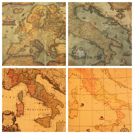 collage with images of antique maps , Italy, Europe