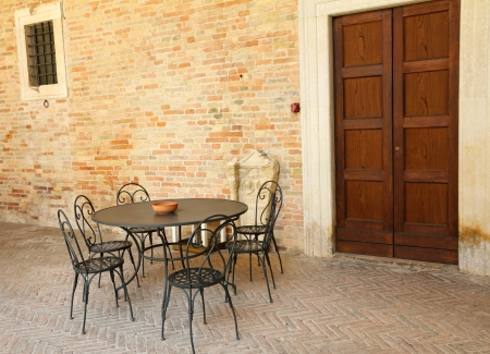 retro garden furniture on italian terrace, Italy, Europe Stock Photo - 16060088