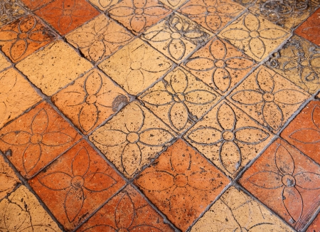 antique floor with floral pattern, Tuscany, Italy, Europe Stock Photo