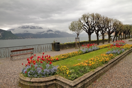 bellagio: fantastic landscape of lake Como with boulevard with flowerbeds on misty day, Bellagio, Italy, Europe