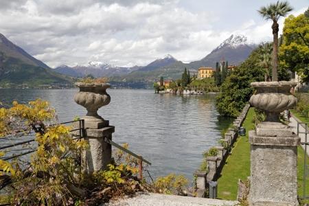 como: fantastic landscape of lake Como seen from garden of Villa Monastero, Varenna, Lombardy, Italy, Europe Stock Photo