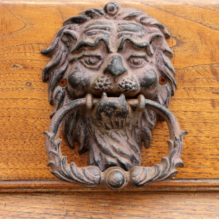 tuscan house: beautiful old door knocker in Tuscany, Italy, Europe Stock Photo