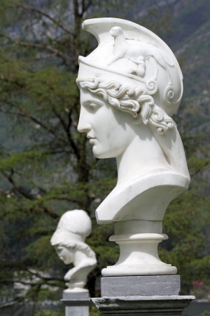 athena: Bust of Athena in italian garden of Villa Melzi in Bellagio, Italy, Europe