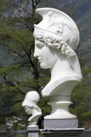 Bust of Athena in italian garden of Villa Melzi in Bellagio, Italy, Europe
