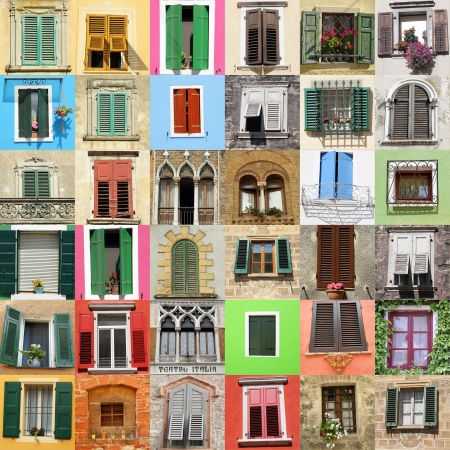 many windows: abstract wall made of beautiful old windows from Italy , Europe Stock Photo