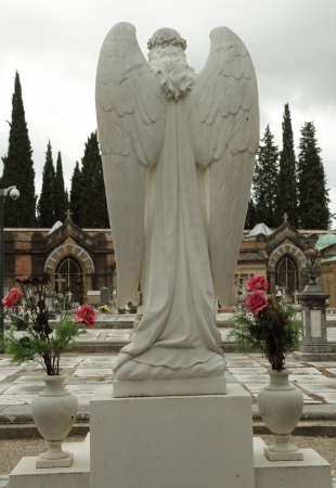 headstones: statue of angel -  rear view - on italian cemetery, Florence, Tuscany, Europe Stock Photo