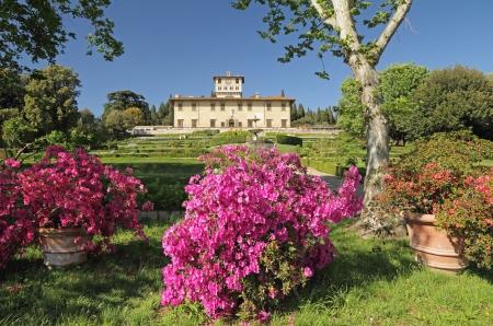 Garden and Villa La Petraia, one of the most beautiful Medici villas, Castello, near Florence, Tuscany, Italy, Europe Editorial