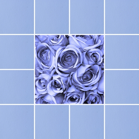 card with blue roses and handmade paper photo