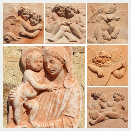 Madonna and child and angels collage, decorative tiles from tuscan terracotta, Impruneta,Florence, Italy, Europe photo