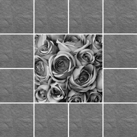condolence card with black and white roses pattern photo