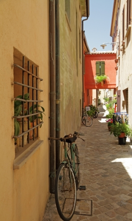 narrow street in  San Giovanni in Marignano village , called town of witches, region  Emilia Romagna, Italy, Europe photo