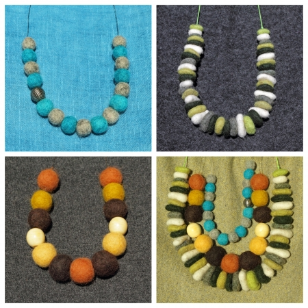 bead jewelry: fancy felt necklaces collection Stock Photo