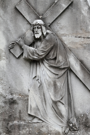Christ Carrying the Cross - antique relief, Italy photo