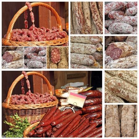 charcutería: slow food collage hecho de imágenes de los mercados agrícolas europeos Foto de archivo