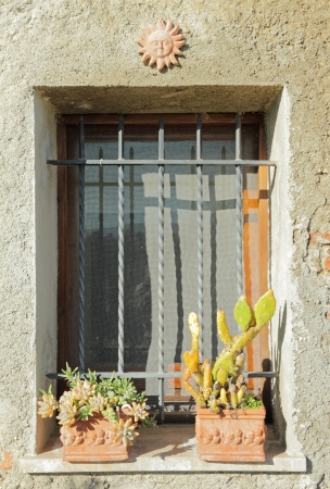 windowsill: sunny window with cacti in clay containers, Tuscany, Italy, Europe