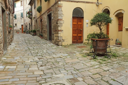 narrow italian street and small patio in tuscan borgo Montefioralle, sometimes claimed to be the birthplace of Amerigo Vespucci, Greve in Chianti, Italy, Europe