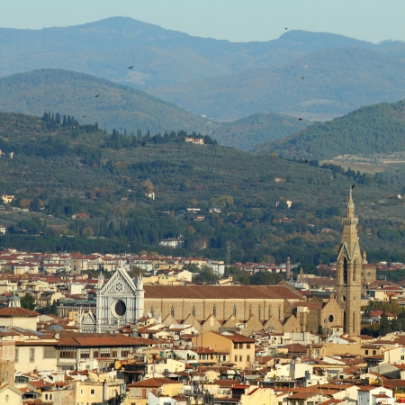 Fantastic view of Florence  with Santa Croce church ( (Basilica of the Holy Cross ) and florentine hills, seen from Belosguardo, Tuscany, Italy, Europe photo
