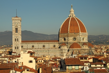 duomo of florence: aerial view of The Basilica di Santa Maria del Fiore (  Basilica of Saint Mary of the Flower )seen from the Arnolfo Tower of Palazzo Vecchio, Florence, Tuscany, Italy, Europe