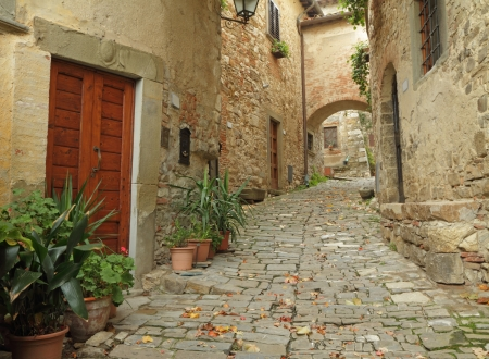 Beautiful italian small street in tuscan village Montefioralle near Greve in Chianti, Tuscany, Italy, Europe photo