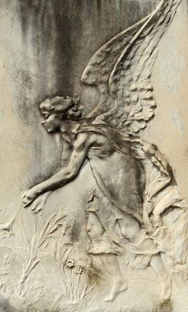 bass relief: antique angelic bas-relief Stock Photo