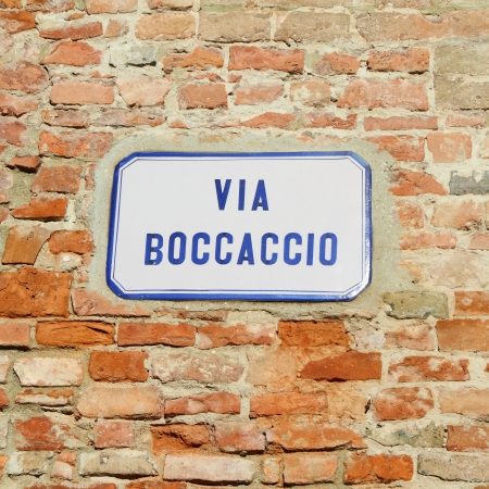 street name sign: street sign   Via Boccaccio - named like Giovanni Boccaccio an Italian author and poet,  important Renaissance humanist and the author of  Decameron, Italy