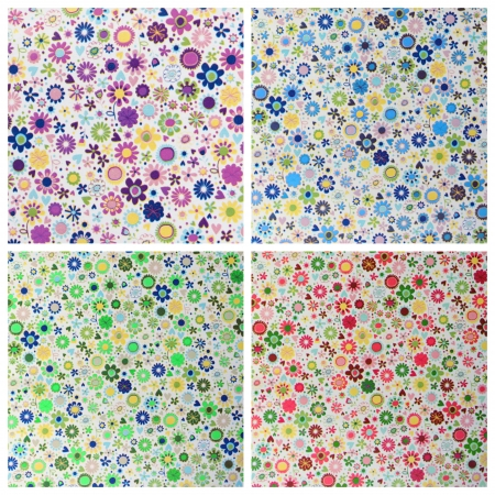 four samples of decorative paper with small flowers  pattern photo
