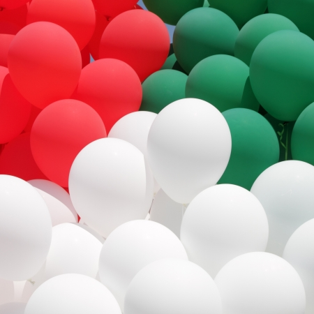 colors of Italy,  red, green and white balloons photo
