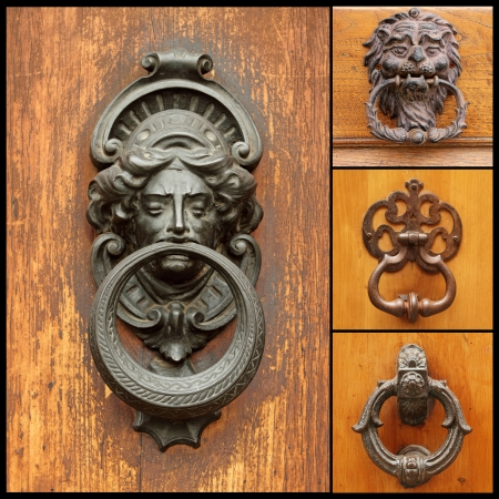collage with retro door knockers, images from Italy Stock Photo - 17406476