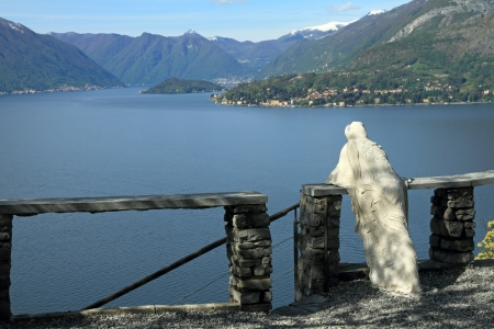 lake como: admiring fantastic view of Lake Como, landscape seen from Varenna, Lombardy, Italy, Europe
