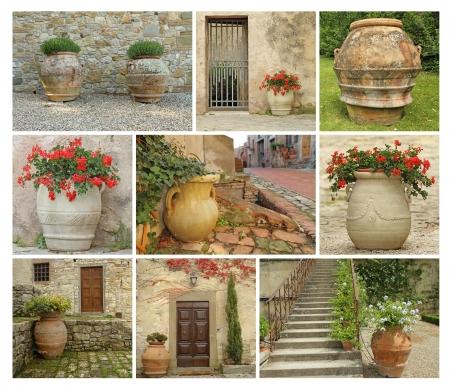 greek pot: collage con ceramiche vecchio giardino in stile, immagini dalla Toscana, Italia, Europa Archivio Fotografico