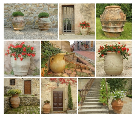 collage with old style garden pottery, images from Tuscany, Italy, Europe photo