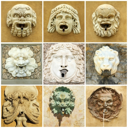 grotesque: antique  street drink water source,Tuscany, Italy, Europe Stock Photo