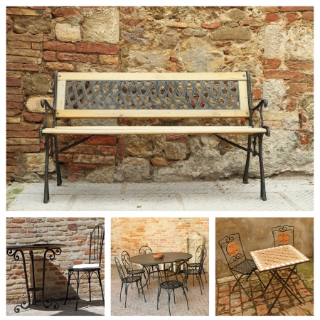 collage with classic garden furniture photo