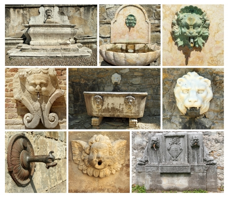 collage with antique  fountains in Italy, Europe Stock Photo - 17597846