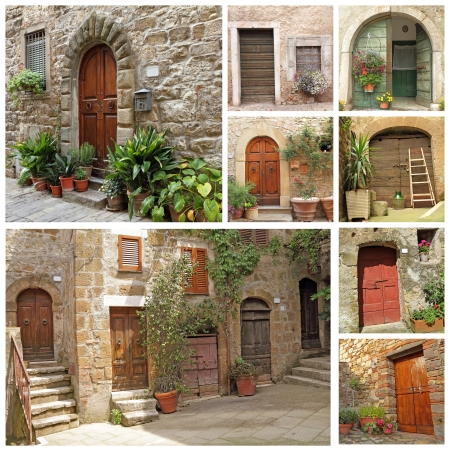 courtyard: collage with rustic italian doors