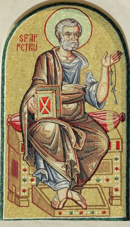 patriarchal: Saint Peter, detail  of mosaic from  facade of the Romanian Patriarchal Cathedral, Bucharest, Europe