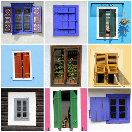 abstract wall with images of rustic windows photo