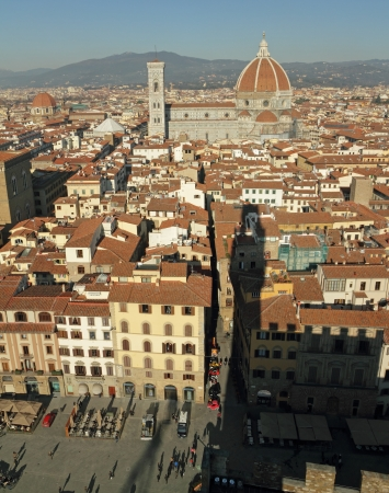 crenelation: fantastic view of Florence seen from Palazzo Vecchio and its shadow, Tuscany, Italy, Europe
