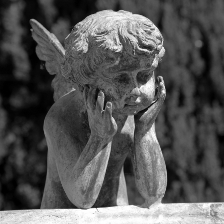 figure of angel - detail of the fountain in garden of Villa Peyron in Fiesole, Florence, Tuscany, Italy, Europe photo
