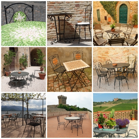 garden furniture collection on italian terraces, Italy, Europe photo