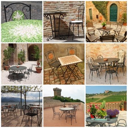 garden furniture collection on italian terraces, Italy, Europe Stock Photo - 17821963