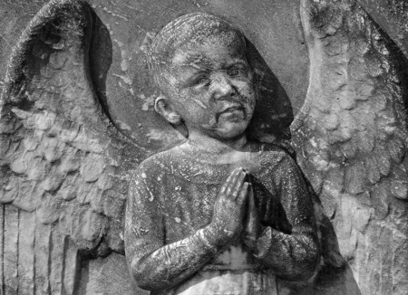 bas: antique angelic bas-relief, Monumental Cemetery Porte Sante in Florence, Italy
