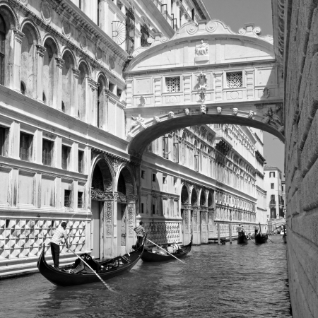 Gondolas passing over Bridge of Sighs - Ponte dei Sospiri. Venice,Veneto, Italy, Europe.