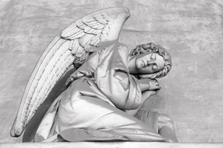 condolence: sleeping angel - antique headstone on monumental cemetery Staglieno, Genoa, Italy, Europe Stock Photo