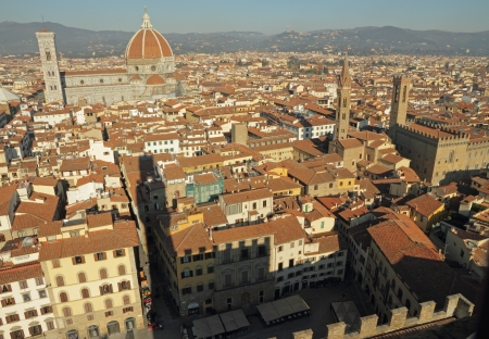 patrimony: amazing view of Florence seen from Palazzo Vecchio and its shadow, Tuscany, Italy, Europe