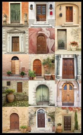 vintage door wallpaper, Italy photo