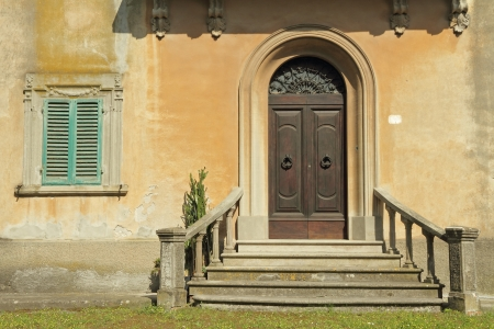 doorway with balustrade to the classic tuscan villa, Italy Stock Photo - 18082149