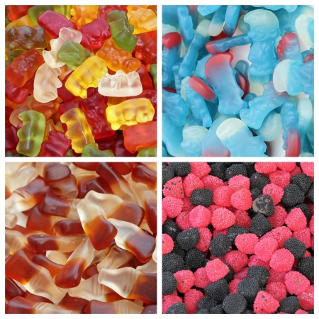 bear berry: Haribo candies , bears, smurfs cola bottles and berries collage